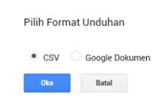 Pilihan Download CSV dan Dokumen