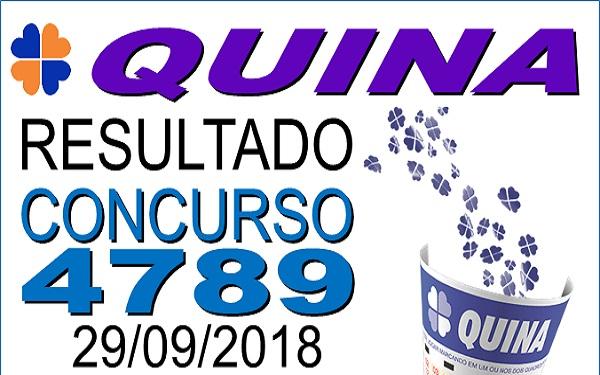 Resultado da Quina concurso 4789 de 29/09/2018 (Imagem: Informe Notícias)