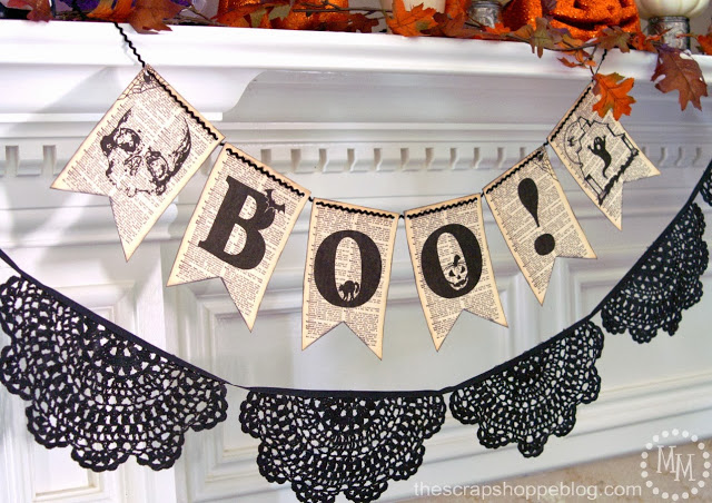 Spooky Halloween Book Page Crafts - Printable Book Page BOO Banner