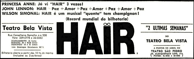 Musical Hair, 1970, década de 70, anos 70,