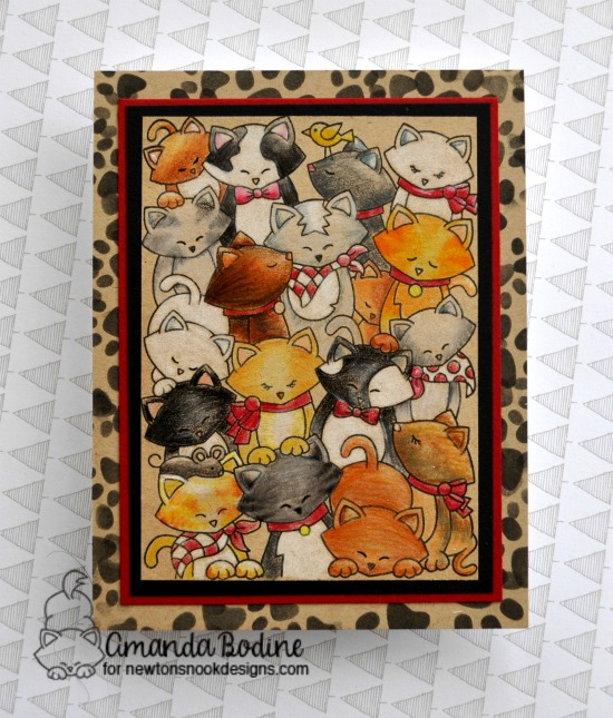 Crowd of cats card by Amanda Bodine | Company of Cats Stamp Set by Newton's Nook Designs #newtonsnook