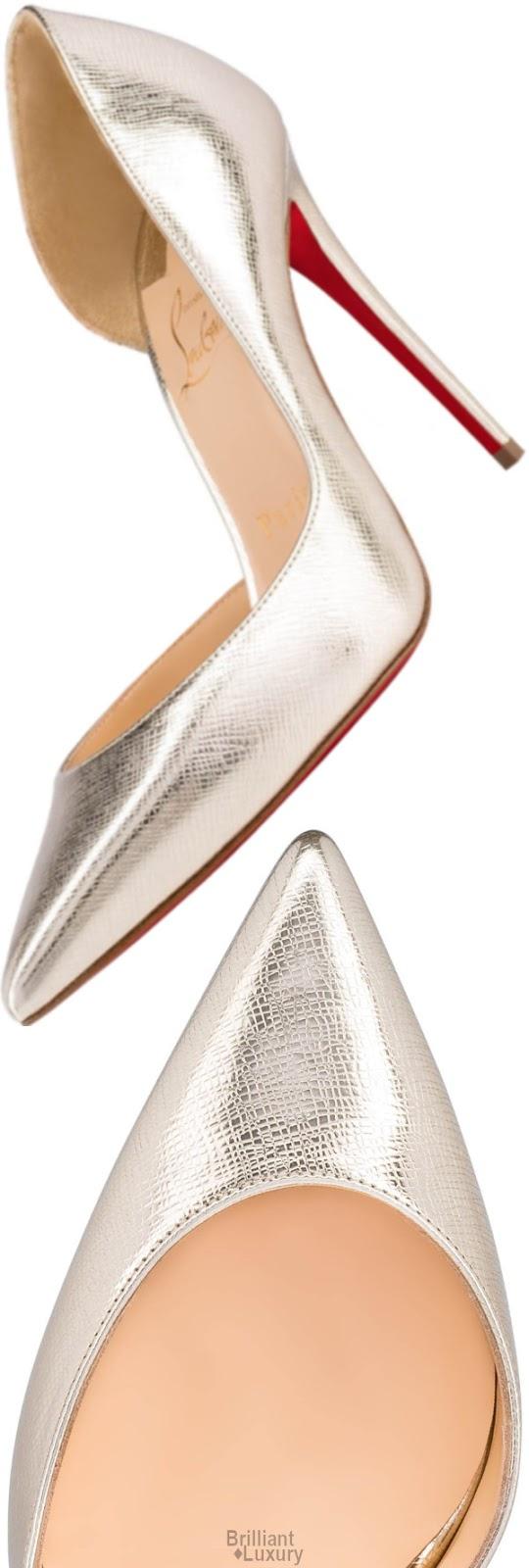 Brilliant Luxury♦Christian Louboutin Iriza Calf Silver Palm Lamé Stiletto Pump