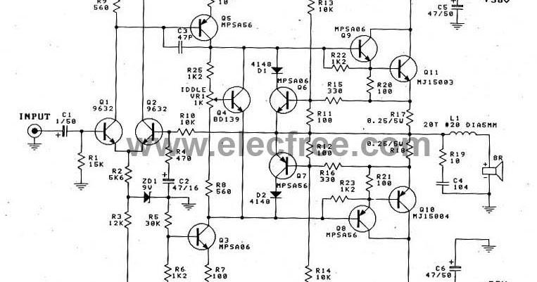 ocl power amplifier circuit mj15003mj15004