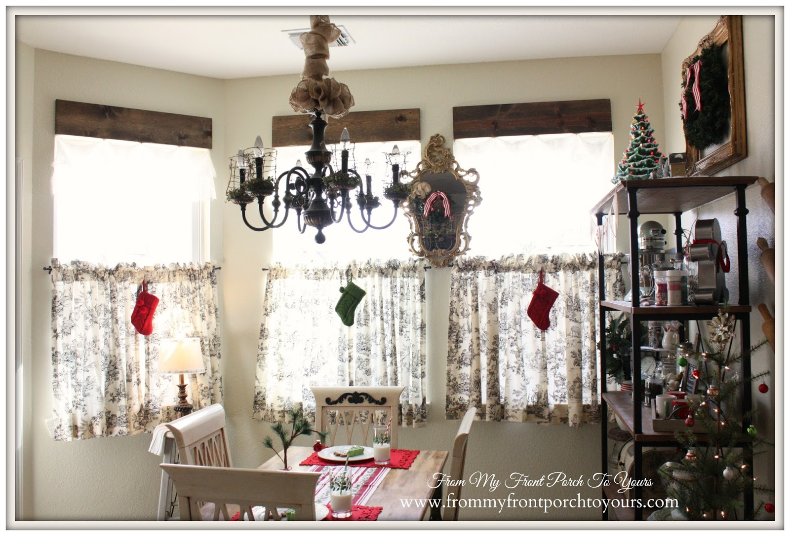 Christmas Stockings hanging from window-French Farmhouse Christmas Kitchen- From My Front Porch To Yours