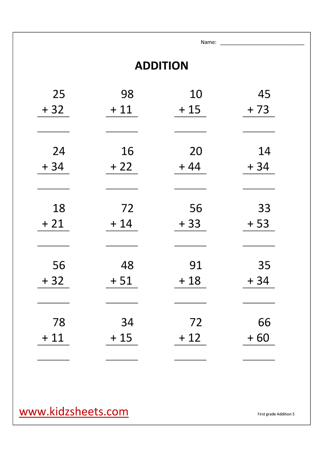 Kidz Worksheets First Grade Addition Worksheet5
