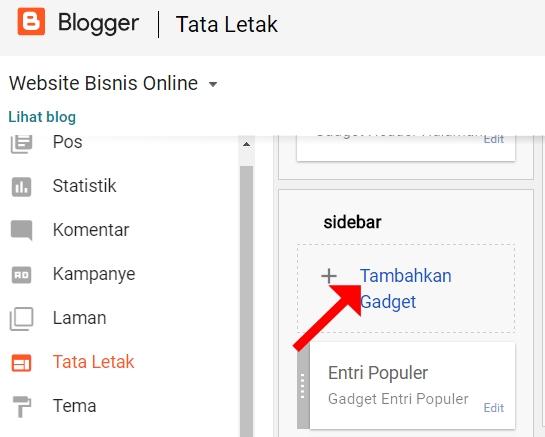 Tambahkan Gadget Ikuti Blog