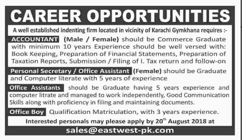 Male Female Staff as Accountant, Secretary, Office Assistant & Other