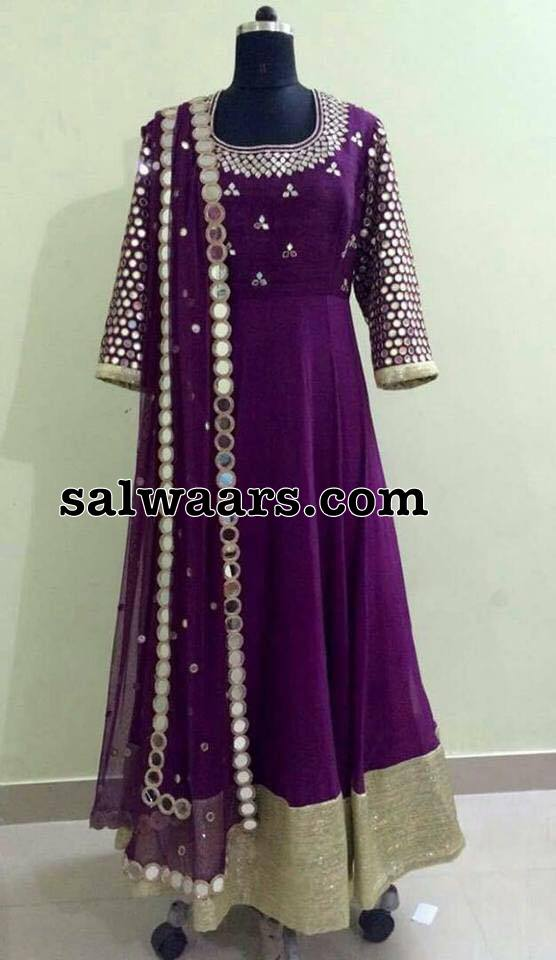 Purple Mirror work Salwar