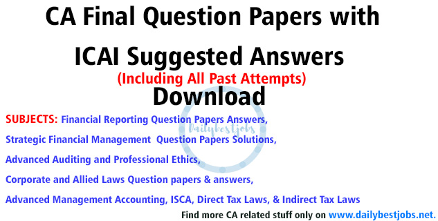 CA Final Nov 2018 Question Papers Suggested Answers Download