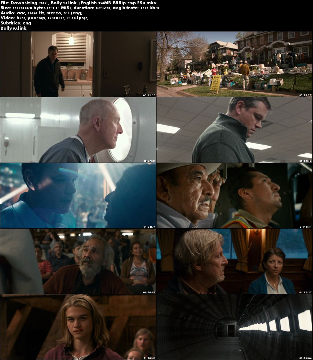 Downsizing 2017 BRRip 350MB English 480p ESub Download