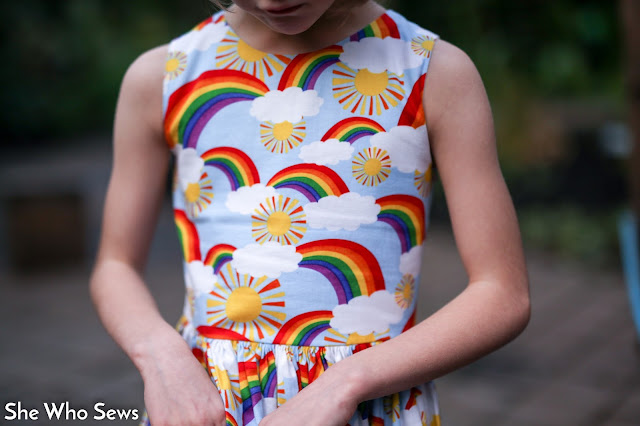 Rainbow, sun and cloud dress