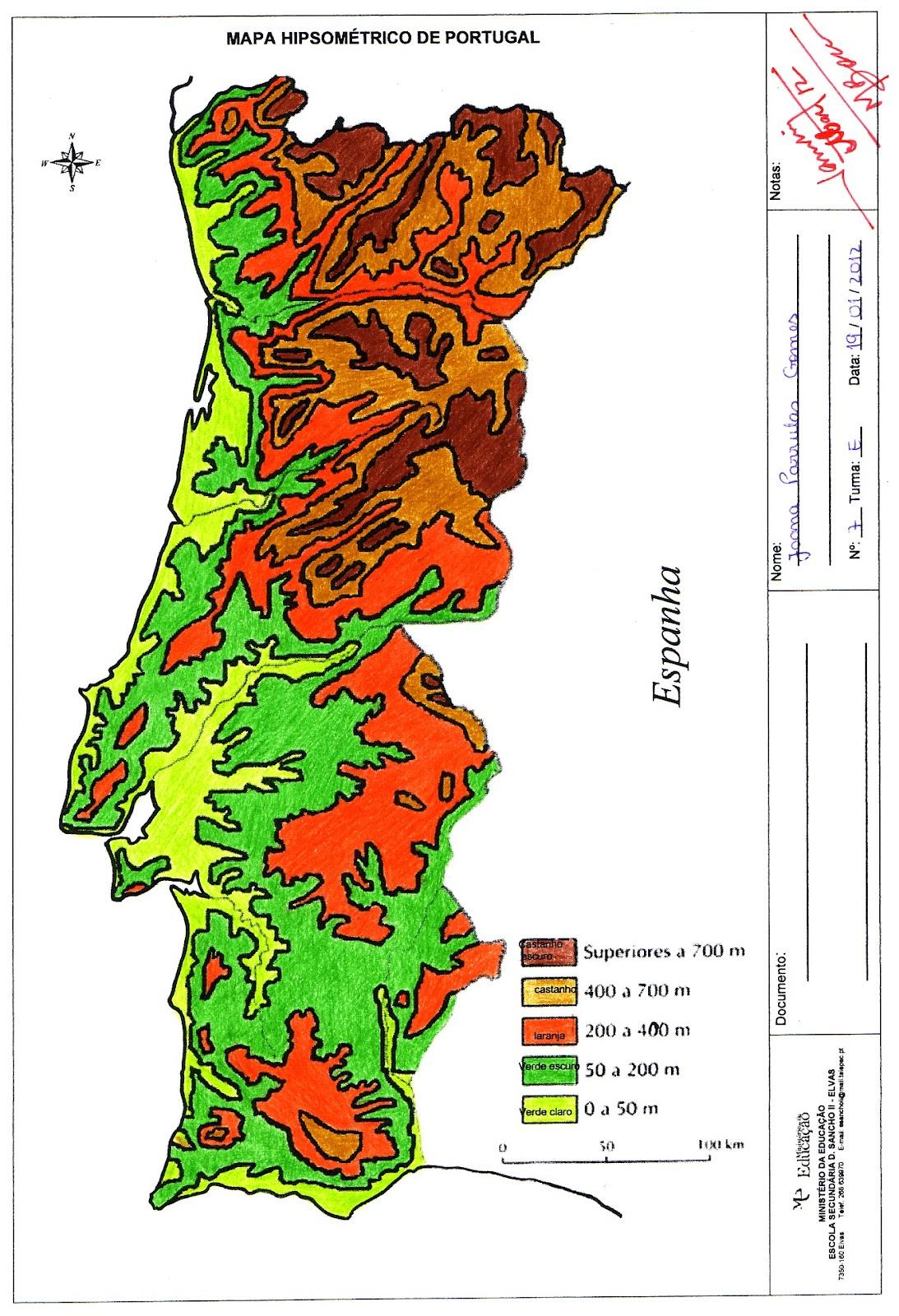 mapa hipsométrico de portugal GEO ELVAS: Mapa hipsométrico   aula cartografia mapa hipsométrico de portugal