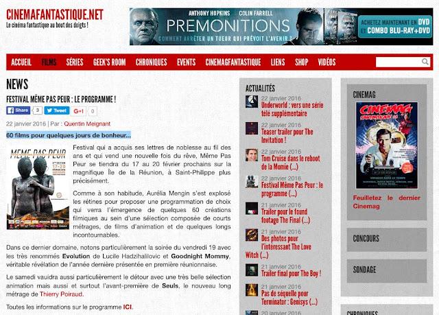 MEME PAS PEUR 2016 dans CINEMAFANTASTIQUE.NET