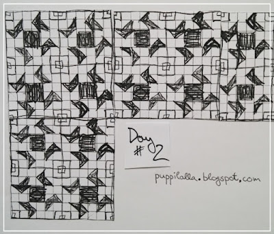 Puppilalla, 30daysofquiltdesign, stitched in color, half square triangles, HST, quilt design, quilt planning,