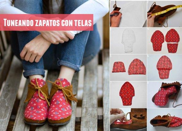 tunear, zapatos, customizar, telas, costura, labores