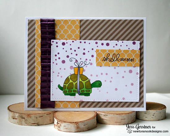 Shell-abrate Birthday Turtle Card by Jess Gerstner | In Slow Motion stamp set by Newton's Nook Designs