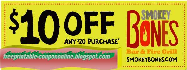 graphic about Smokey Bones Coupons Printable referred to as Printable Discount coupons 2019: Smokey Bones Discount codes