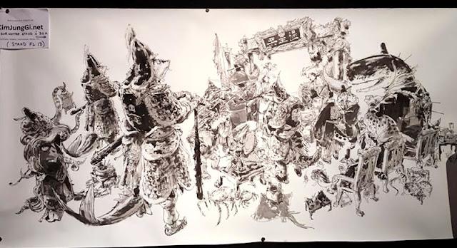 Fresque de Kim Jung Gi terminée à la fin du FIBD d'Angoulême 2016