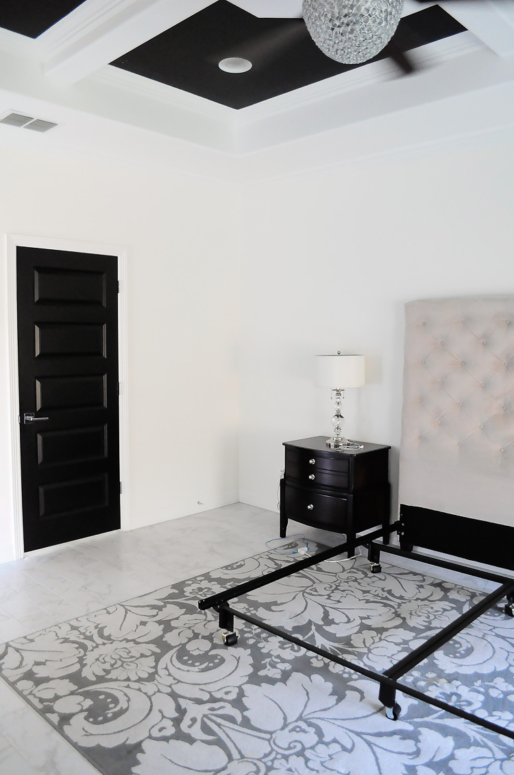A bare master bedroom corner that is going to get a makeover.