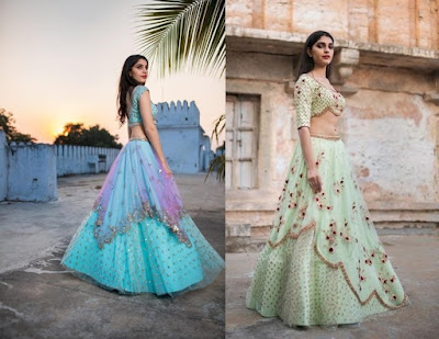 Asymmetrical layered lehengas are one of the trending engagement dress for the Indian brides.