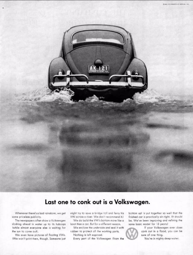 1961 Volkswagen Beetle Original Vintage Adver Photographed In Black White Negotiating A Huge Puddle Last One To Conk Out Is