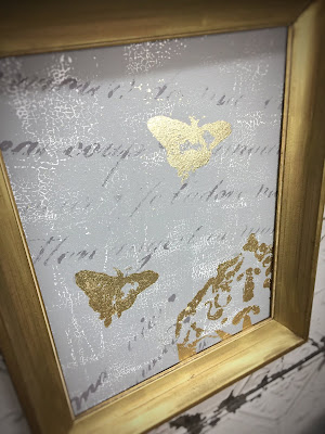 gold leaf, chalk paint, IOD stencil, gray and gold, crackle, framed print