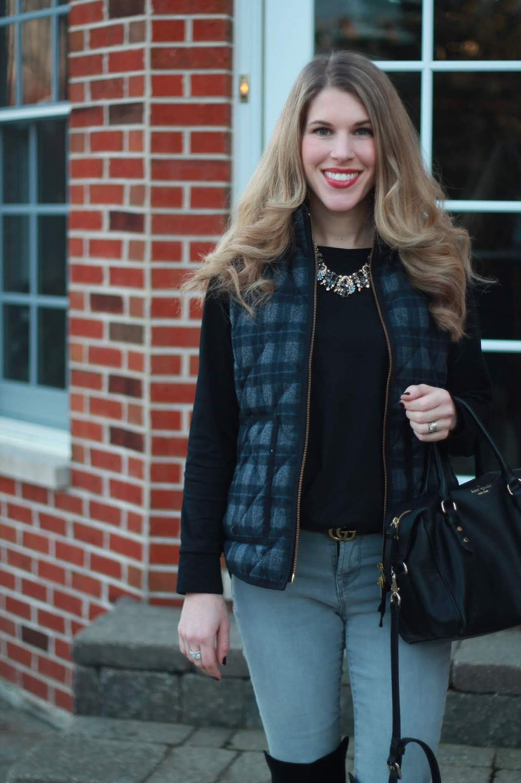 plaid vest, black tee, grey jeans, black OTK boots, statement necklace