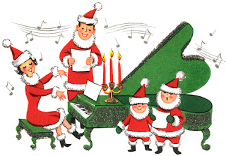 Clipart Image of a family singing Christmas carols around a piano