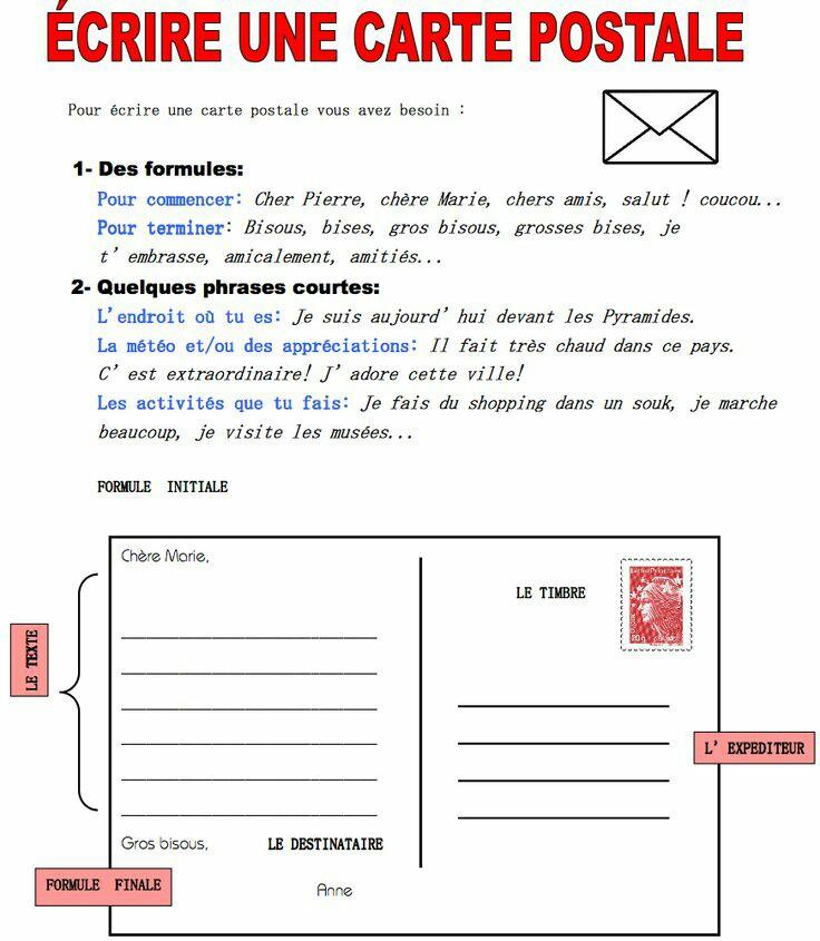 exemple de carte postale pour des amis A la découverte de la France: Comment écrire une carte postale à