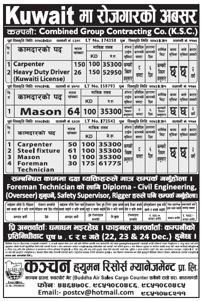 Jobs in Kuwait for Nepali, Salary Up to Rs 61,775