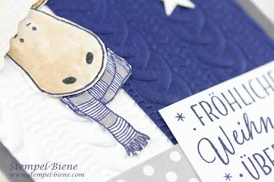 Weihnachtskarte; Stampinup Jolly Friends; stampinup Prägeform Zopfmuster; Weihanchtsworkshop Stampin up; Ideen weihnachtskarten; Blaue Weihnachtskarte; Stempel-biene