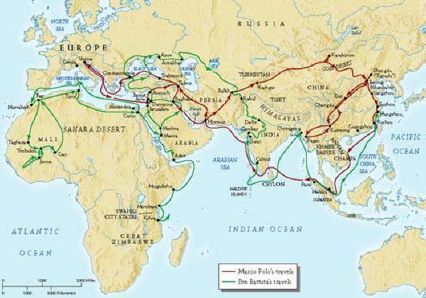 Rute Penjelajahan Ibnu Battutah pada tahun 1332 setelah dari Kulwa.