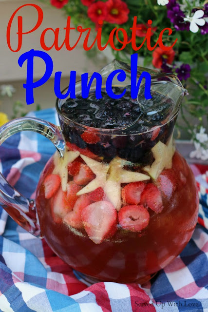 Patriotic Punch from Served Up With Love will be THE party punch of summer. Loaded with frozen berries it is super refreshing and kid friendly.