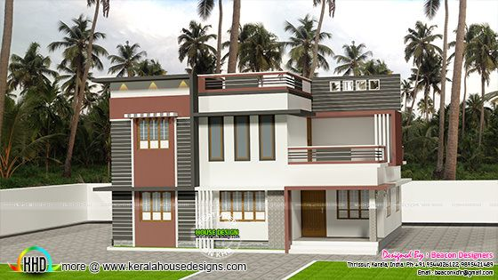 Flat roofed villa plan 1540 sq-ft