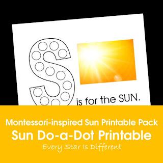 Montessori-inspired Sun Printable Pack: Sun Do-a-Dot Printable