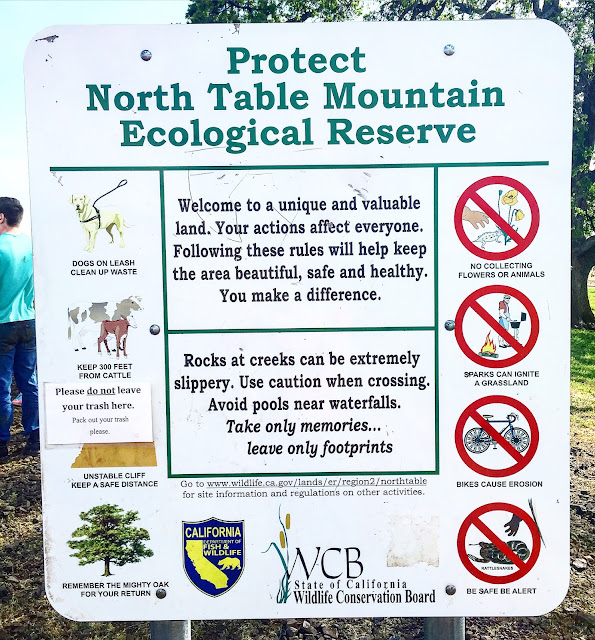 North Table Mountain Ecological Reserve sign