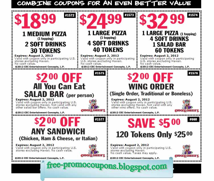 Printable coupons chuck e cheese coupons - Printable Coupons 2017 Chuck E Cheese Coupons