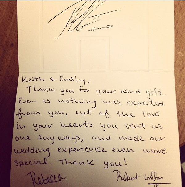 Thank You Letter For Wedding Gift: By Darren M. Haynes: RGIII Sends Thank
