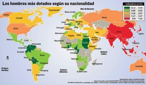 Los países con hombres más dotados del mundo