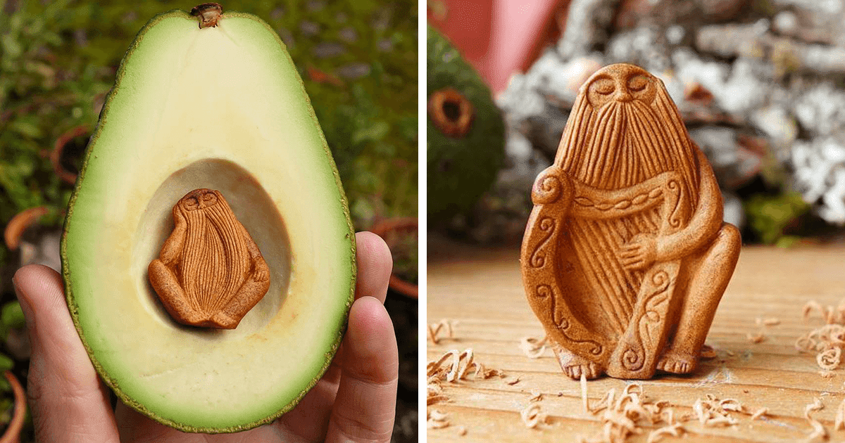 This Artist Transforms Avocado Pits Into Fascinating Forest Creatures