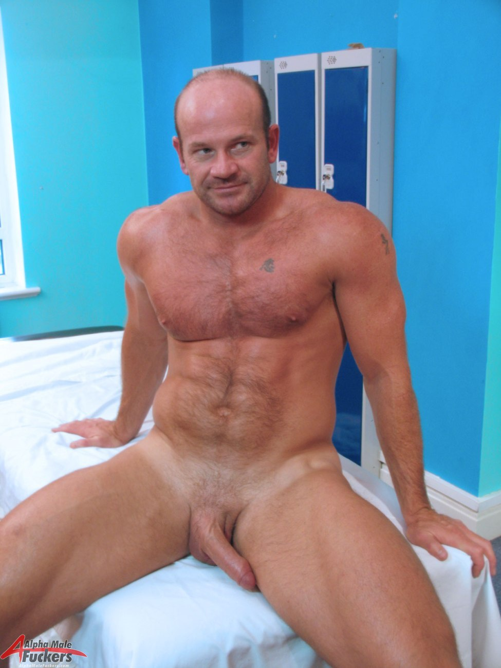 Shaved male cock and balls with