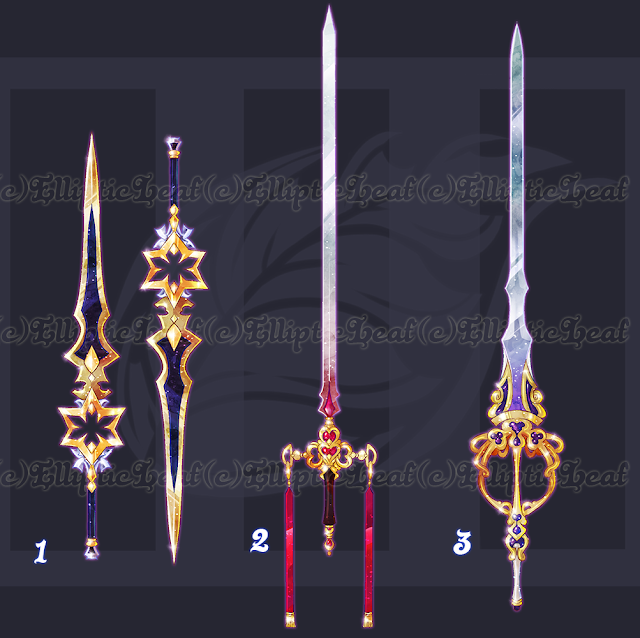 Lembre-se de ser criativo na hora de criar uma história para uma espadas como estas!