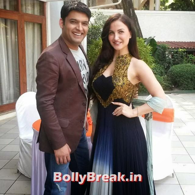 @elliavram and kapil sharma, at muhurat, of their new, bollywood movie, direct ed, by abbas must an, elli avram, s tun nin , in blue ana r kali, with golden halter, dress from a all the best, to entire ream of  kis kis ko pyaar karu, 👍👍, Elli, Kapil Kis Kis Ku Pyaar karu Movie Muhurat pics