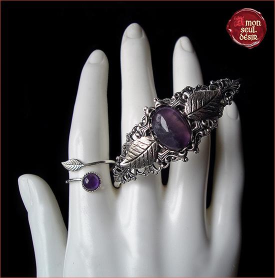 bijoux amethyste argent elfique bracelet féerique bague woodland fairy elven jewellery amethyst silver jewelry