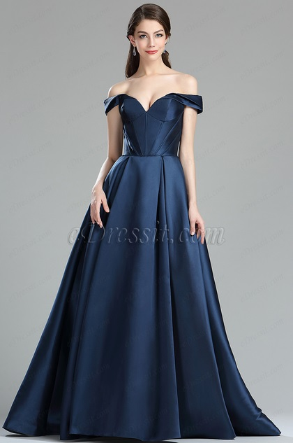eDressit Dark Blue Off the Shoulder V Cut Puffy Prom Dress
