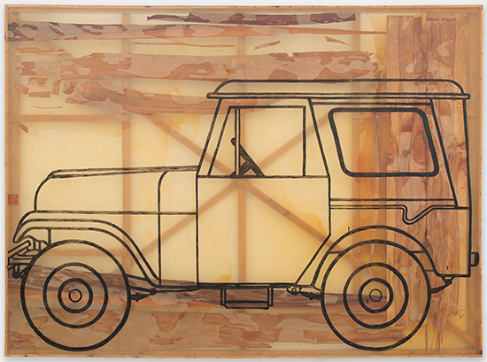 Sigmar Polke Auto (Jeep), 1992 Wood veneer, artificial resin, and acrylic paint on polyester 228 x 305.4 cm)