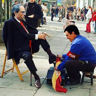Pedro Sánchez, limpiabotas, Quim Torra