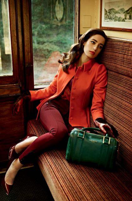 orange and burgundy fashion trend