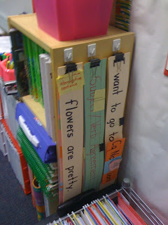 Use binder clips to clamp sentence strips together & hang.