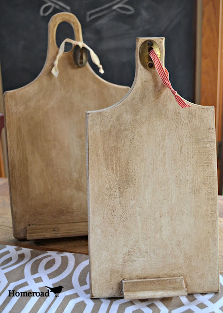 Vintage Wooden DIY ipad stands made from repurposed cutting boards.